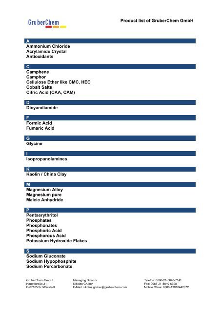 Product list of GruberChem GmbH A Ammonium Chloride ...