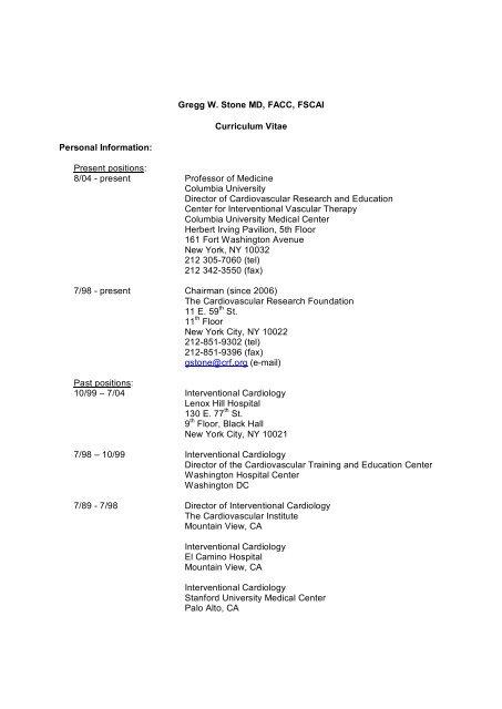 Gregg W  Stone MD, FACC, FSCAI Curriculum Vitae Personal