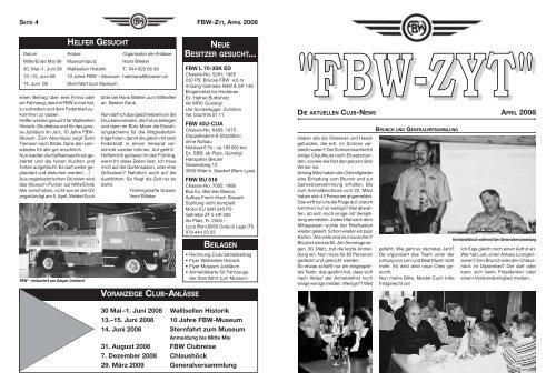 ''FBW-ZYT'' DIE AKTUELLEN CLUB-NEWS APRIL 2008 - Fbw-Club