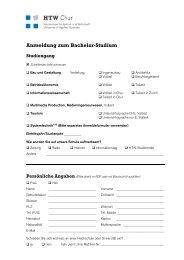 Anmeldung zum Bachelor-Studium Studiengang - HTW Chur
