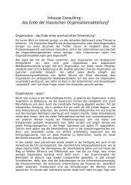 Inhouse Consulting - Ende der Organisationsabteilung - Org-Portal.org