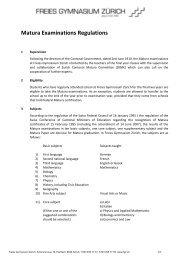 Matura Examinations Regulations - Freies Gymnasium Zürich