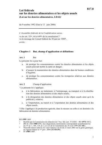 Loi fédérale sur les denrées alimentaires et les objets usuels 817.0
