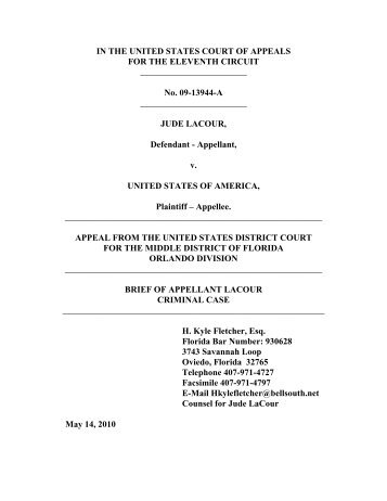 IN THE UNITED STATES COURT OF APPEALS FOR ... - Jude LaCour