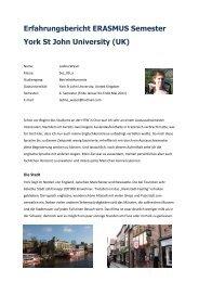 Erfahrungsbericht ERASMUS Semester York St John ... - HTW Chur