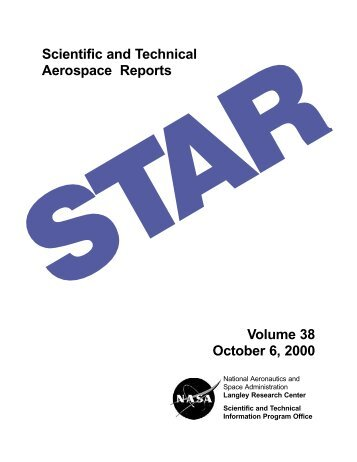 Scientific and Technical Aerospace Reports Volume 38 October 6 ...