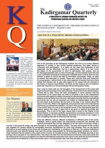 Kadirgamar Quarterly - Lakshman Kadirgamar Institute of ...