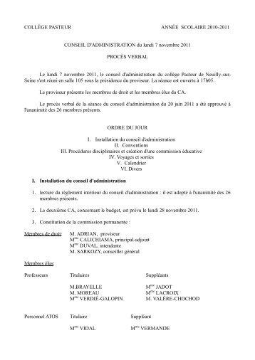 COLLÈGE PASTEUR ANNÉE SCOLAIRE 2010 ... - Lycée Pasteur