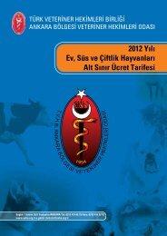 2012 Yılı Ev, Süs ve Çiftlik Hayvanları Alt Sınır Ücret Tarifesi