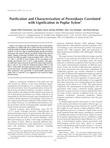 Purification and Characterization of Peroxidases ... - Plant Physiology