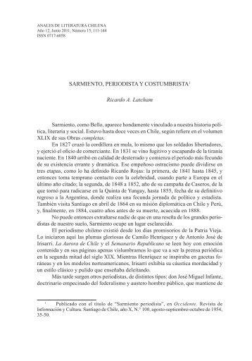 Sarmiento, periodista y costumbrista - Anales de Literatura Chilena