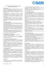 Allgemeine Geschäftsbedingungen - Einkauf Klaus Union GmbH & Co