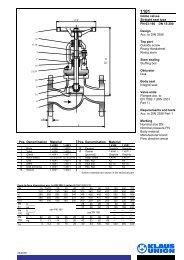 Globe valves Straight seat type PN 63-160 DN 15-200 ... - Klaus Union