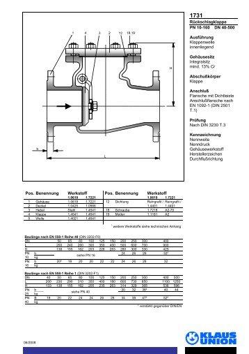 Rückschlagklappe PN 10-160 DN 40-500 Ausführung ... - Klaus Union