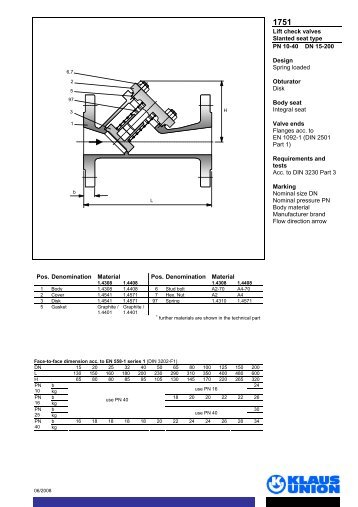 Lift check valves Slanted seat type PN 10-40 DN 15 ... - Klaus Union