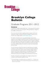 Graduate Bulletin 2011–2012 - Brooklyn College - CUNY