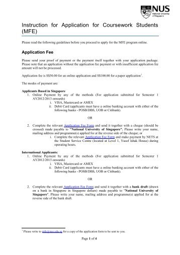 Instruction for Application for Coursework Students (MFE)