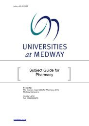 Subject Guide for Pharmacy - Medway Campus Online