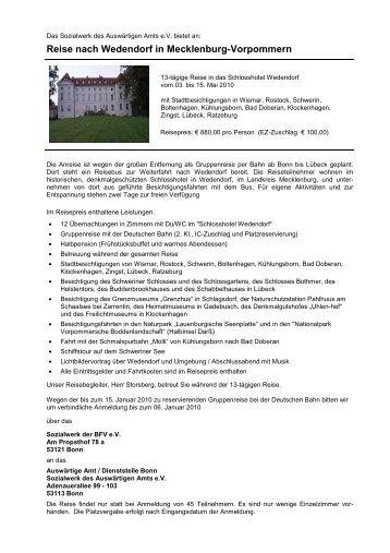 Reise nach Wedendorf in Mecklenburg-Vorpommern 2010 mit