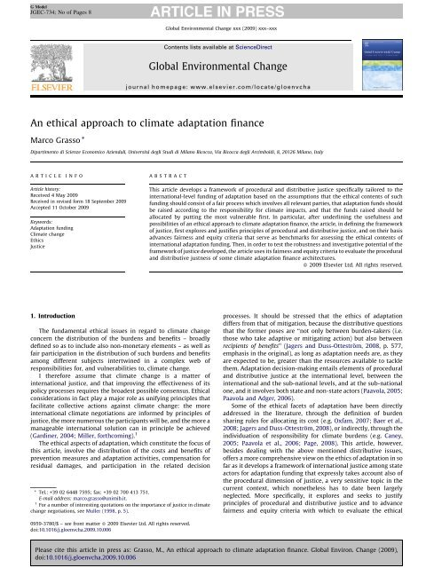 An ethical approach to climate adaptation finance - Marco Grasso