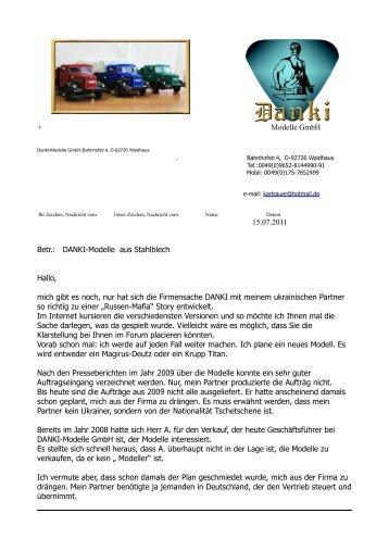 + Modelle GmbH . 15.07.2011 Betr.: DANKI-Modelle aus Stahlblech ...