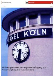 Pegel Köln Wohnungsmarkt Köln - Expertenbefragung ... - Stadt Köln