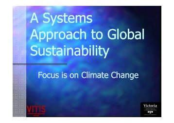 A Systems Approach to Global Sustainability - Australia and New ...