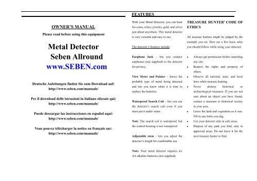 Metal Detector Seben Allround