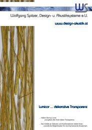 neue Kollektion 2011 von Lumicor - Wolfgang Spitzer, Design