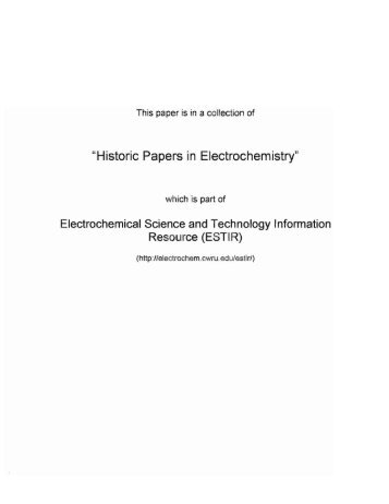 """Historic Papers in Electrochemistry"""