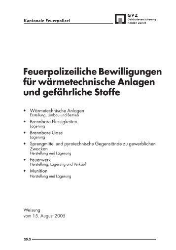Feuerpolizeiliche Bewilligungen für wärmetechnische Anlagen - GVZ