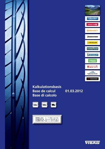 Kalkulationsbasis Base de calcul 01.03.2012 Base di calcolo - Fibag