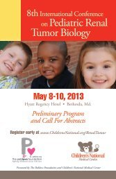 on Pediatric Renal Tumor Biology - Children's National Medical Center