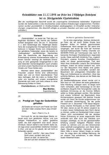Gedenkblätter vom 11.12.1898 zur Feier des ... - Böhm-Chronik