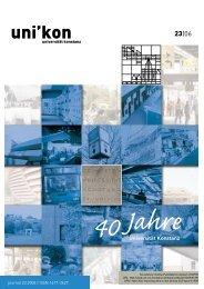 uni'kon: 23, 40 Jahre Universität Konstanz - KOPS - Universität ...