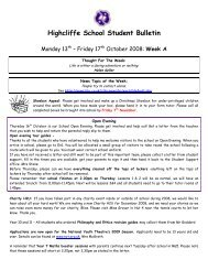 Student bulletin 13th October 2008.pdf - Highcliffe School