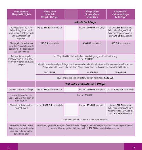 Leistungen der Pflegeversicherung - LSV