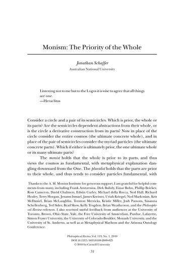 Monism: The Priority of the Whole - Ted Sider