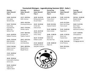 Jugend-Trainingsplan Sommer 2012 - Tennisclub Ditzingen