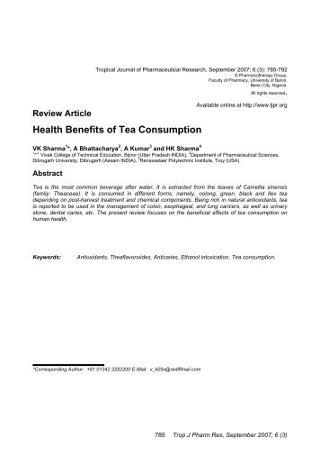 Health Benefits of Tea Consumption - Bioline International