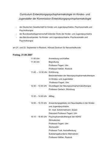 Curriculum Entwicklungspsychopharmakologie im Kindes- und ...