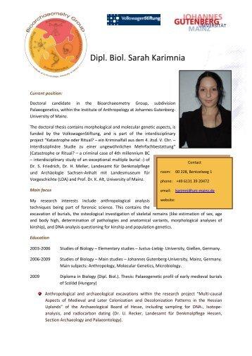 Dipl. Biol. Sarah Karimnia - Johannes Gutenberg-Universität Mainz