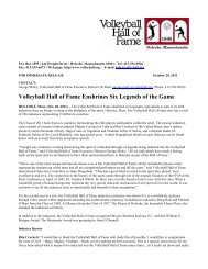 Volleyball Hall of Fame Enshrines Six Legends of the Game