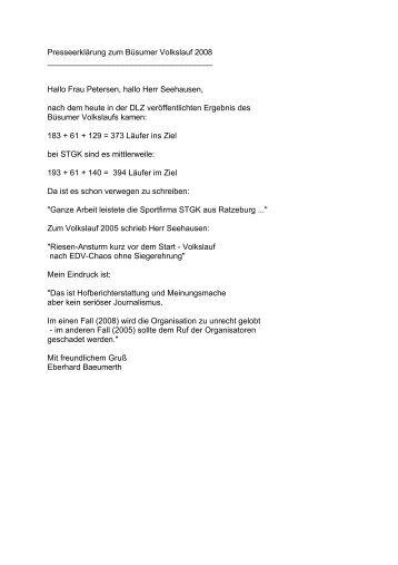 Presseerklärung zum Büsumer Volkslauf 2008 - Volkslauf-Büsum