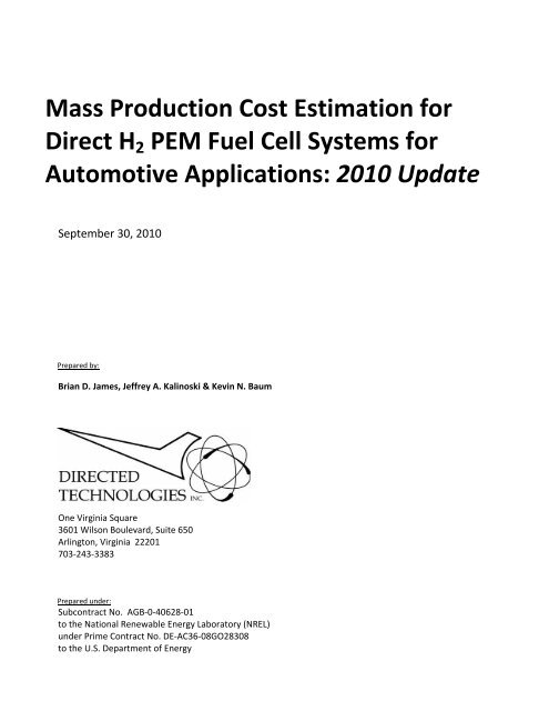 Mass Production Cost Estimation for Direct H2 PEM Fuel Cell