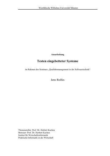 Testen eingebetteter Systeme - Institut für Wirtschaftsinformatik der ...