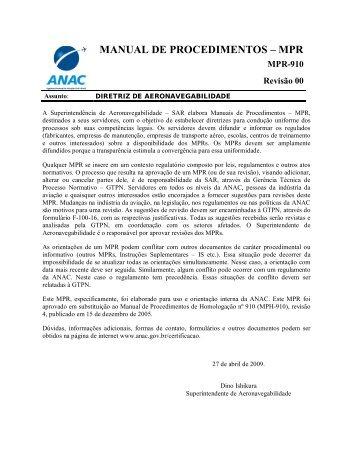 MANUAL DE PROCEDIMENTOS – MPR - Anac