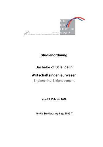 Studienordnung Bachelor of Science in Wirtschaftsingenieurwesen