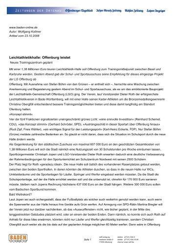 Leichtathletikhalle: Offenburg leistet - KRÄMER architekten