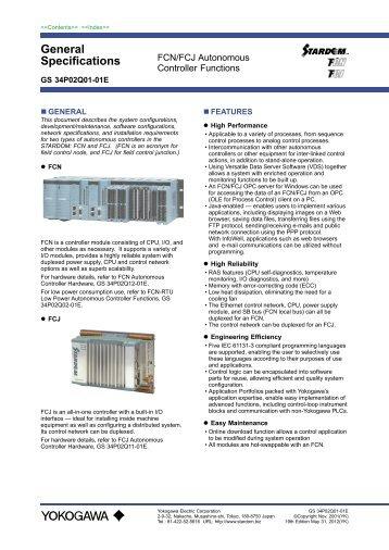 FCN/FCJ Autonomous Controller Functions - Yokogawa
